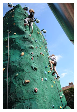 Climbing wall fun for children at camp